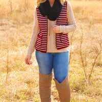 Wherever The Wind Blows Vest: Maroon/White