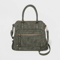 Women's Violet Ray Front Double Zip Satchel Satchel - Olive