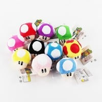 Super Mario party nes switch 50PCS/Lot 6cm  Plush Keychain Toad Mushroom Stuffed Dolls Keychains Pendants AT_80_8