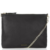 Leather Chain Crossbody Bag - Black