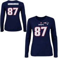 Rob Gronkowski New England Patriots Majestic Womens Fair Catch V Name and Number Long Sleeve T-Shirt – Navy Blue