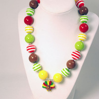 Turkey Thanksgiving Girls Boutique necklace Chunky Beaded Necklace Infant and Baby necklace Orange and Yellow