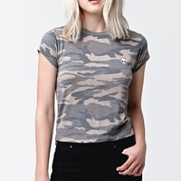 LA Hearts Alien Short Sleeve Crew T-Shirt - Womens Tee - Camo