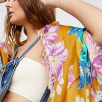 Free People Good Vibrations Printed Cocoon Kimono