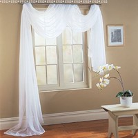 "Beautiful White Elegance Window Sheer Voile Scarf 56"" X 216"""