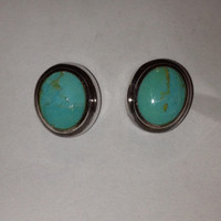 Turquoise Sterling Earrings Studs Bocco 925 Silver Blue Vintage Tribal Southwestern Jewelry Christmas Birthday Gift Boho