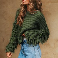 Tassel knitted sweater women pullover loose Casual army green sweater female O neck jumper pull femme