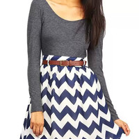 Blue Chevron and Grey Dress