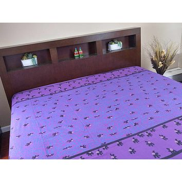 Willow Print Cotton Tapestry Tablecloth Coverlet Bedspread Beach Sheet Bed Sheet 70x106 inch Purple