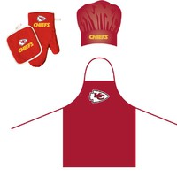 Kansas City Chiefs NFL Barbeque Apron , Chef's Hat and Pot Holder Deluxe Set