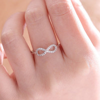Gold Plated/Silver Infinity Love Crystal Chain Charm Joint Ring Jewelry Accessories