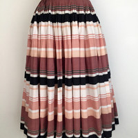 Vintage 1950s striped cotton skirt with detailed waist pleating