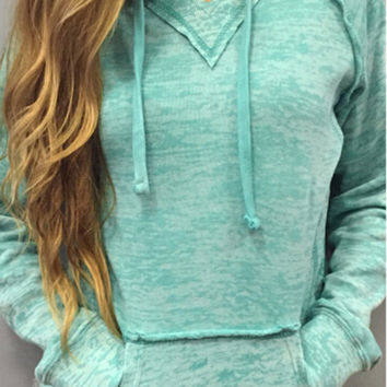 Mint Green Pocket Front Drawstring Hoodie Sweater