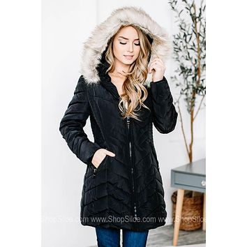 Long Hooded Fur-Lined Quilted Coat | Black