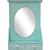 Distressed Wooded Wall Shelf with Oval Mirror and 2 Drawers (Aqua)