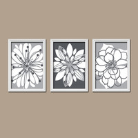 Wall Art Canvas Artwork Charcoal Gray White Tones Flower Petal Burst Floral Bloom Set of 3 Prints Decor Bedroom Bathroom Three