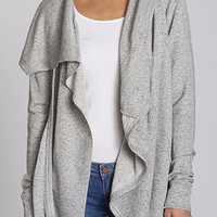 French Terry Asymmetrical Hooded Cardigan
