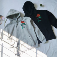 Black & Gray Embroidery Rose Hoodie