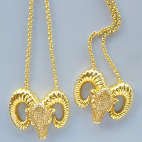 Ram Necklace - 24K Gold Plated, Italy