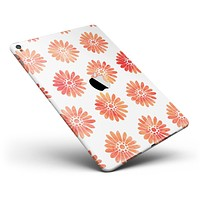 """The Red Orange Watercolor Daisies Full Body Skin for the iPad Pro (12.9"""" or 9.7"""" available)"""