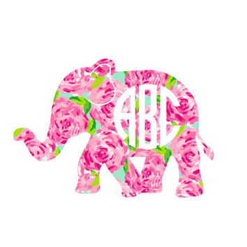 Elephant Lilly Pulitzer  Decal, Lilly Inspired Decal Monogram, Lilly Pulitzer Decal, Lilly car decal, Lilly Pulitzer Yeti decal Custom Decal