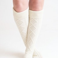 Knee High Ivory Boot Socks