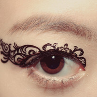 1 Pair Eye Temporary Tattoo Spring Makeup Eyeshadow Black Feather Romantic Lace dancer Masquerade Cocktail Valentine Gift Party Festival
