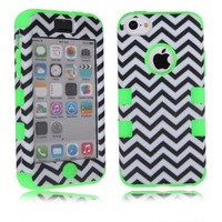 MagicSky Black White Chevron Zigzag Pattern Case for Apple iPhone 5C - 1 Pack - Retail Packaging - Green