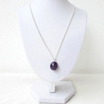 Amethyst pendant necklace, simple purple necklace, semi precious gemstone necklace, raw gemstone pendant, gift for her, Handmade in the UK
