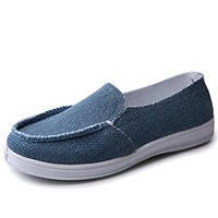 Solid Canvas Shoes Women Spring Autumn Flat Breathable Women Loafers Walk Drive Work Shoes Slip On Size 40