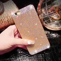 With Logo Glitter Rhinestone bling phone case for iphone 4 4s 5 5s 6 6s 6Plus 6sPlus diamond clear crystal back cover Sparkle