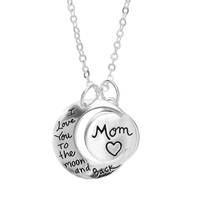 Silver Expressions by LArocks Silver-Plated Moon & Disc ''Mom'' Pendant Necklace (Grey)