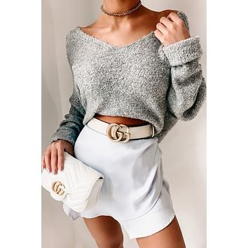 Wanna Be Your Girl V-Neck Sweater (Heather Gray)