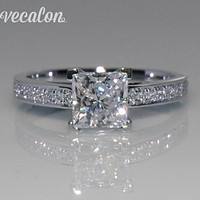 Vecalon Simple Jewelry ring Princess cut 1ct AAAAA Zircon Cz 925 Sterling Silver Engagement wedding Band ring for women