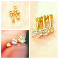 "Gold Clear Prong Tragus Cartilage Earring Ring Forward Helix Triple Stud 16g 1/4"" Piercing Bar Barbell Surgical Steel Jewelry"
