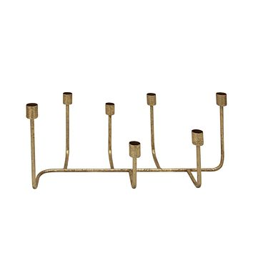 Metal 7 Taper Candle Holder, Gold