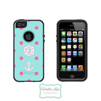 Otterbox Commuter Apple iPhone 5 5s Personalized Cell Phone Case Polka Dot Anchor Custom Initial Circle Monogram Protective Hard OB-1042
