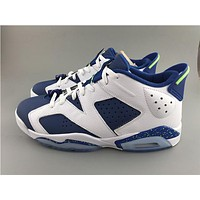 Air Jordan 6 blue white Basketball Shoes 41-47