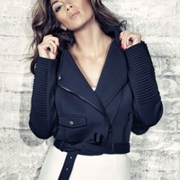 Missguided - Nicole X Scuba Belted Biker Jacket