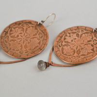 Handmade round copper earrings with ornaments unique jewelry accessory gift idea