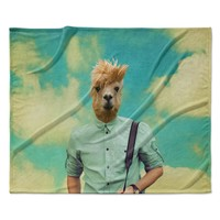 "Natt ""Passenger 1B"" Llama Fleece Throw Blanket"