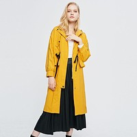 Yellow Hooded Trench Coat