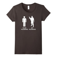 Womens Your Husband vs My Husband Army Wife T-Shirt
