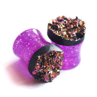 Purple Druzy Double Flare Glitter Acrylic Plugs