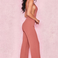 Clothing : Jumpsuits : 'Abbi' Rose Pink Side Boob Jumpsuit