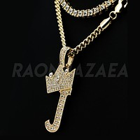 Crown J Initial Pendant Necklace Set