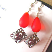 Red seaglass earrings with Antiqued Silver plated diamond shape dangles - Perfect Holiday Gift FREE SHIPPING