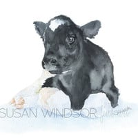 Calf Watercolor Painting 6 x 4 Fine Art Giclee Reproduction - Nursery Art - Farm Animals - Baby Cow