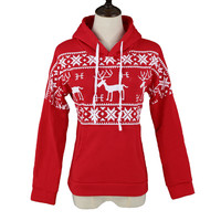 Red Deer Print Long Sleeve Fleece Pullover Hoodie Sweatshirt