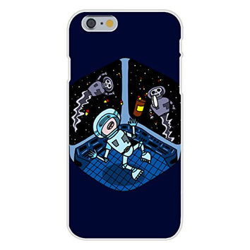 Apple iPhone 6 Custom Case White Plastic Snap On - 'Space Pills' Funny Astronaut Aliens Popping Pills